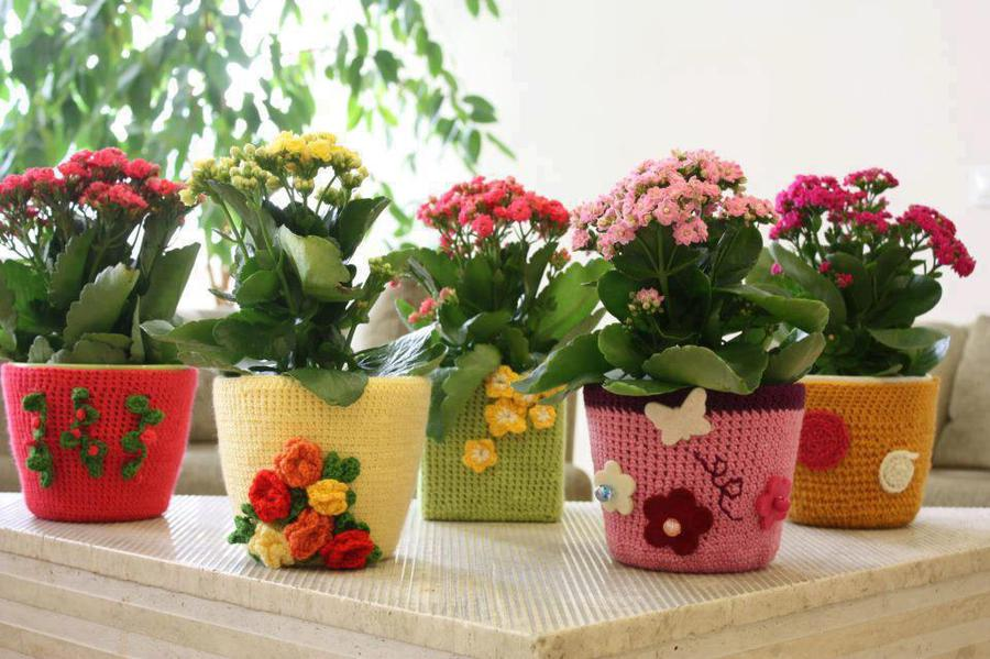 Цветы в горшочках своими руками фото