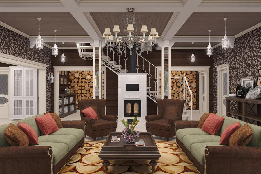дизайн интерьера дома из клееного бруса фото интернет журнал Inhomes