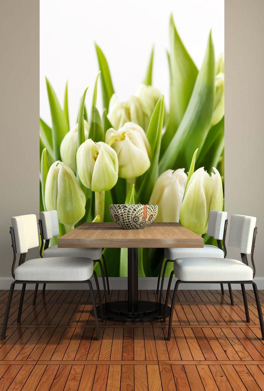 Фотообои с тюльпанами в интерьере фото