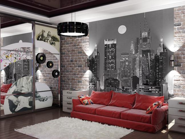 фото красный диван в интерьере