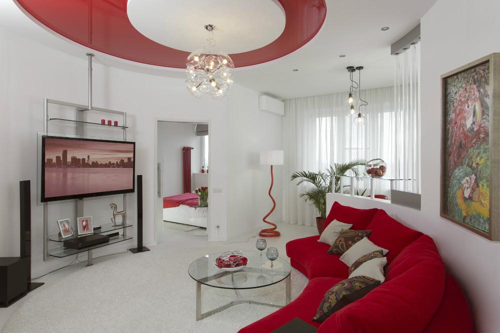 Красно белый интерьер