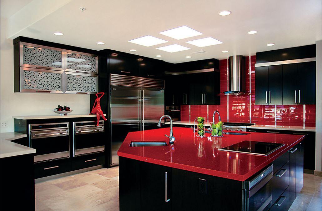 Интерьер кухни фото в красно черном цвете