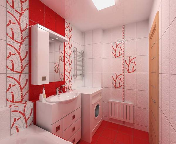 Интерьер ванной комнаты с угловой