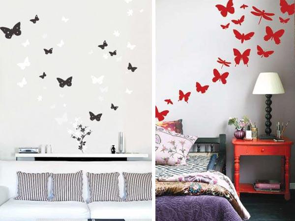 бабочки на стене в интерьере фото