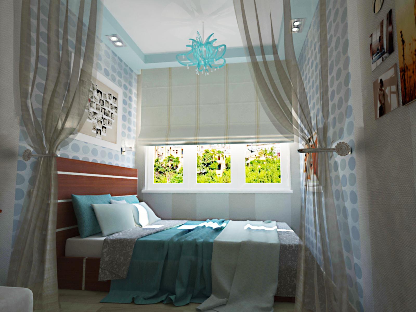 Интерьер детской узкой длинной комнаты - дизайнерини.