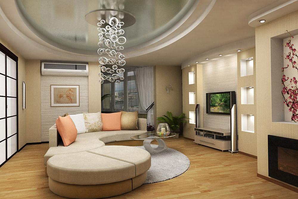 Дизайны гостиных с фотообоями