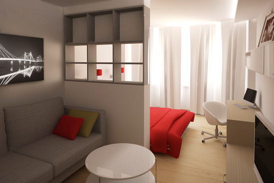 Спальня в однокомнатной квартире дизайн фото