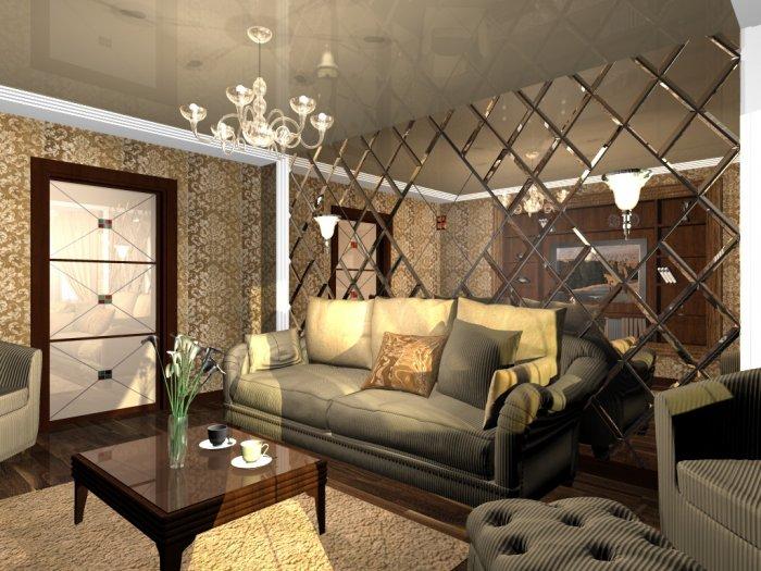 Декорирование стен в гостиной фото