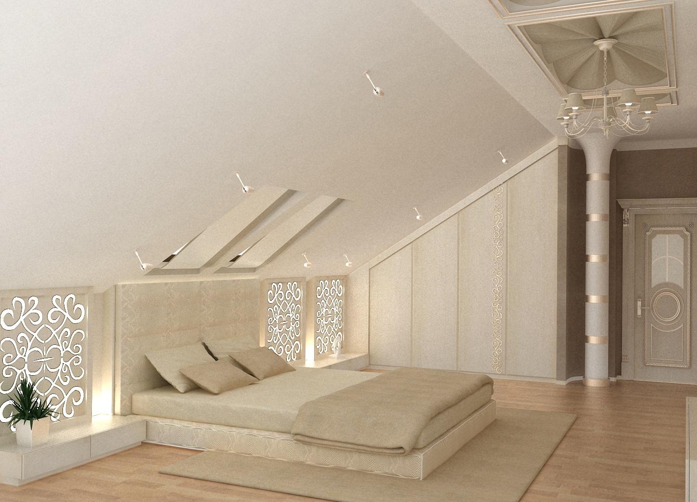Потолки из гипсокартона в мансарде для спален дизайн