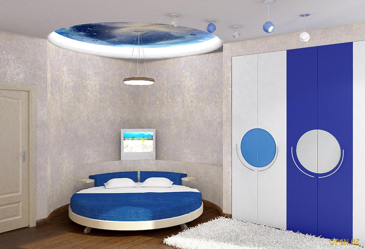 Дизайн интерьера спальни с круглой