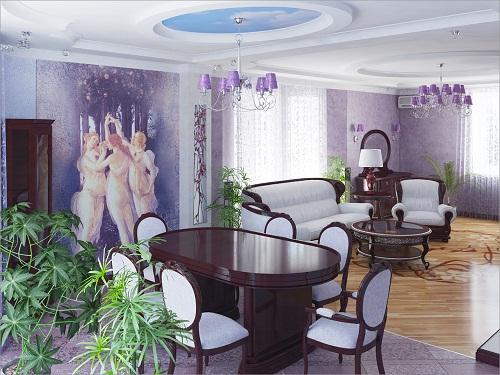 гостиная в сиреневом цвете