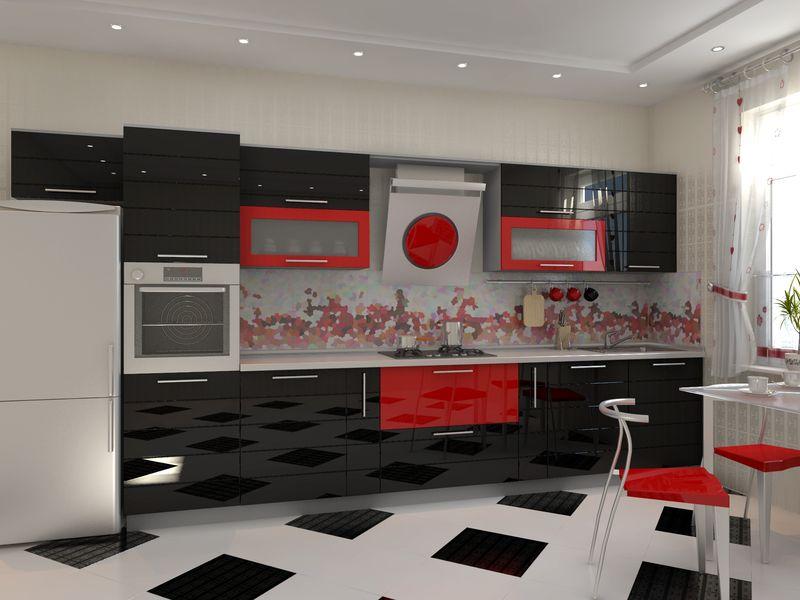 чёрно красная кухня фото дизайн