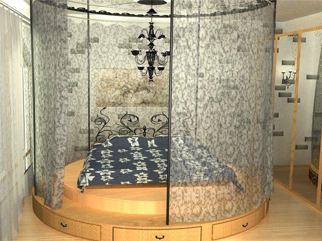 Дизайн спальни с круглой кровати