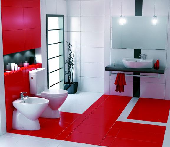 Дизайн красно белой ванной комнаты