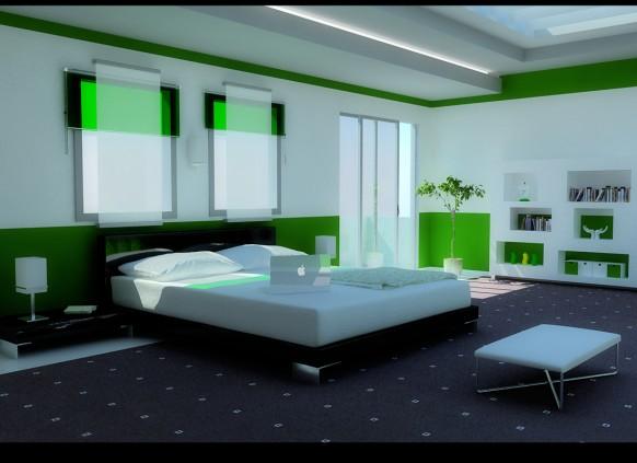 Комната для гостей Modern-Green-Bedroom-4