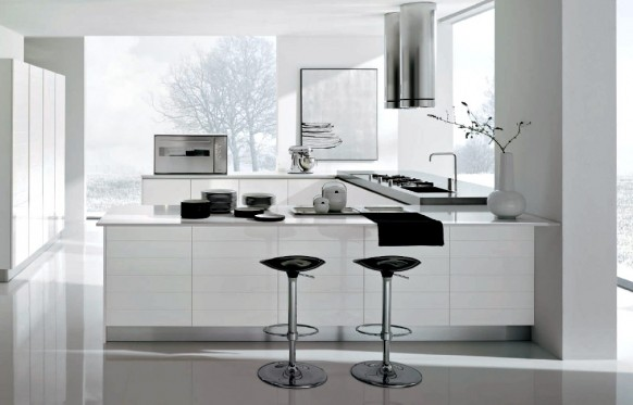 Contemporary-white-kitchen-with-black-stools-white-cabinets-aspirator-and-stove