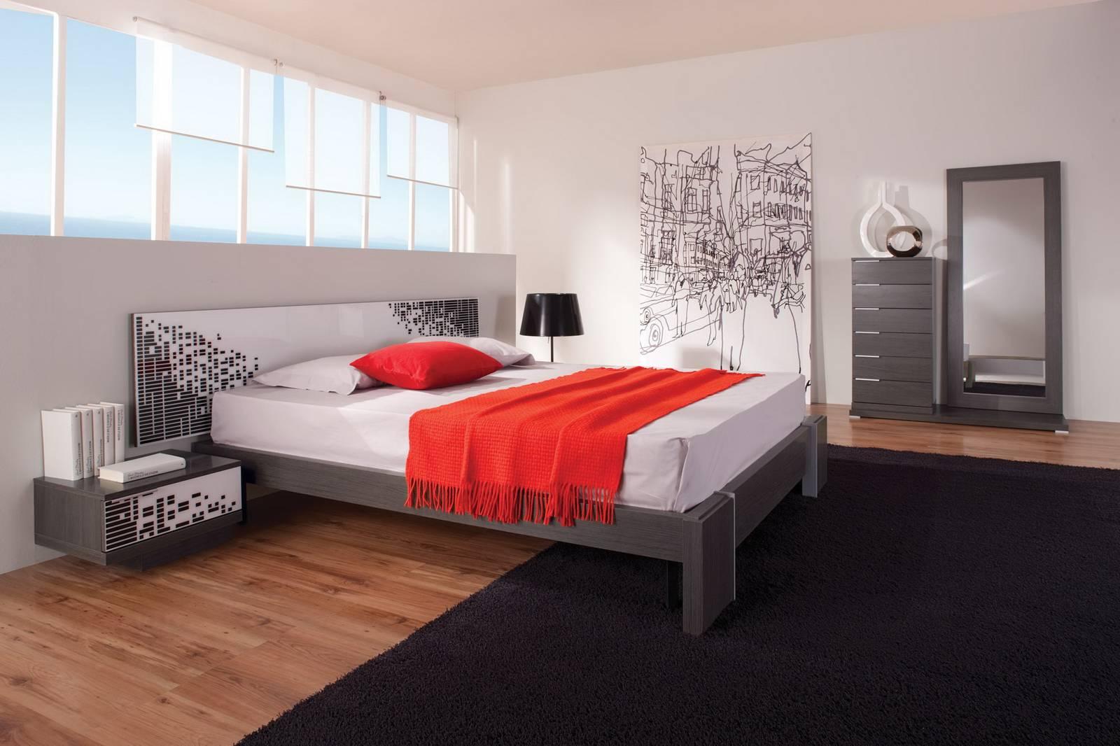 Черно красная спальня