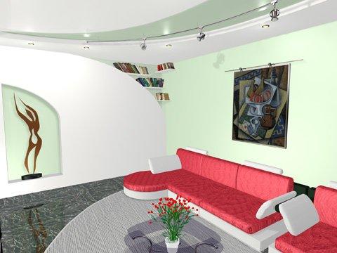 интерьер гостиной хай тек