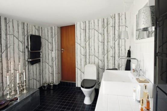 черно белый дизайн ванной