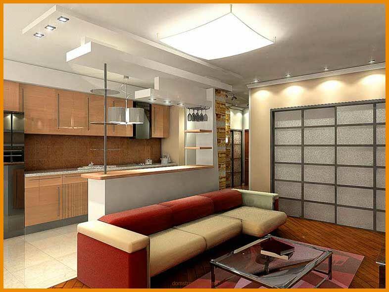 Дизайн кухни гостиной можно разделить