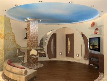 Дизайн интерьера круглой гостиной