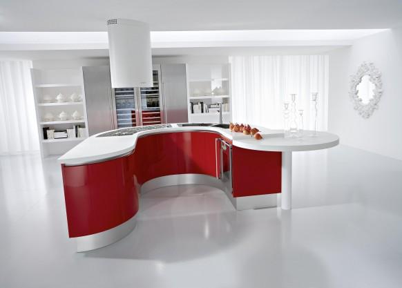 Красные кухни, фото