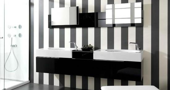 фото чёрно белой ванной комнаты