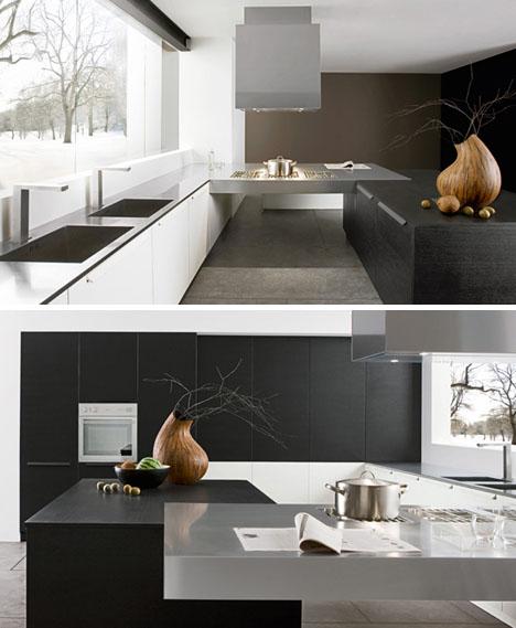 Фото интерьера кухни, черно-белый стиль