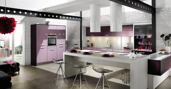 Contemporary-kitchen-with-gray-stone-floor-iron-chairs-and-aspirator-with-white-countertop-and-lilac-drawers