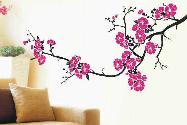 Декор стен сакура своими руками