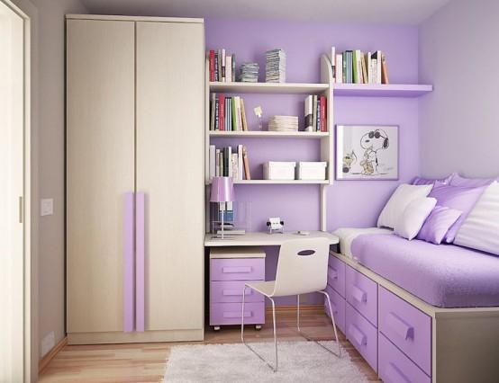 интерьер фиолетовой детской комнаты